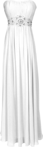 Strapless Chiffon Goddess Long Gown Prom Dress Formal Bridesmaid Junior Plus Size, Size: 3X, Color: White