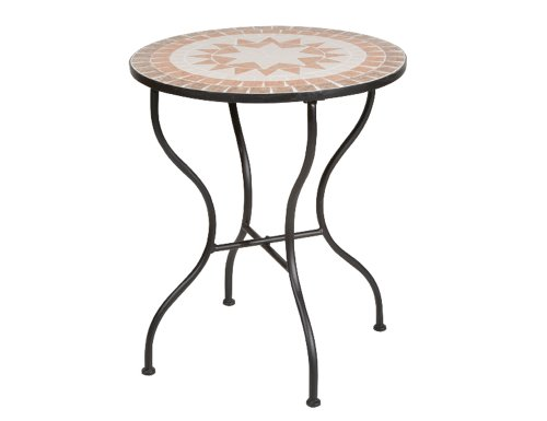 Siena-Garden-660001-Tisch-Finca-Gestell-schwarz-Tischplatte-in-Mosaik-Optik--60-x-H-71-cm