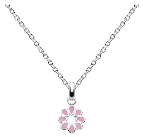 Dew Sterling Silver Children's Pink Open Flower Pendant 98160PK006 of 35.5cm