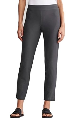 Eileen Fisher Plus Washable Stretch Crepe Slim Ankle Pant 3X Bark Grey