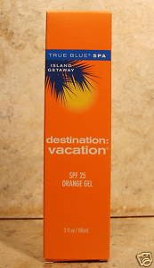 True Blue Spa Island Getaway Destination Vacation Tanning Orange Gel SPF 25-3 oz.