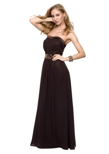 Elegantes Chiffon Party Ball Abendkleid, Farbe braun, Gr.34