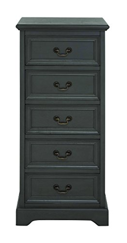 Benzara Marseille Fancy Wood Tall Dresser, 18.66 By 18.66 By 18.66-Inch, Black front-882412