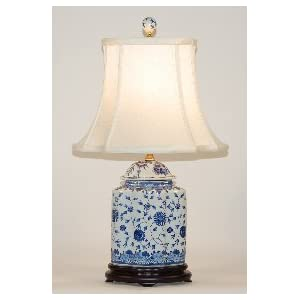 BLUE & WHITE SCALLOPS JAR LAMP