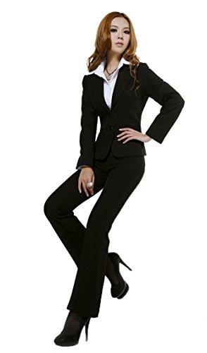 ac2b4183e9c6a WellMiss レディース フォーマルスーツ パンツスーツ 長袖 二つボタン オフィス 就活 ブラック 2点セット