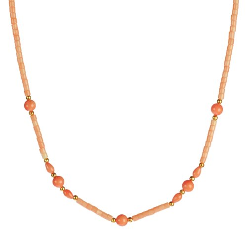 Pink Coral Bead Necklace with Gold-Filled Beads and Vermeil Clasp 18