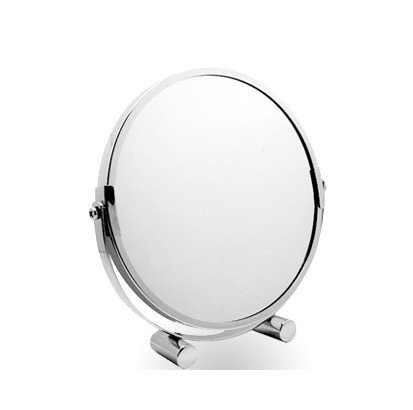 Stainless Steel Sided Portable Desktop Makeup Mirror Vanity Bathroom Mirror front-958696
