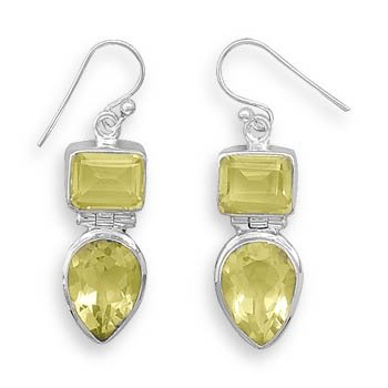 Lemon Quartz French Wire Earrings