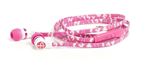 Chic Tangle Free Arts Earbud Headphones With Microphone, Pink Shock