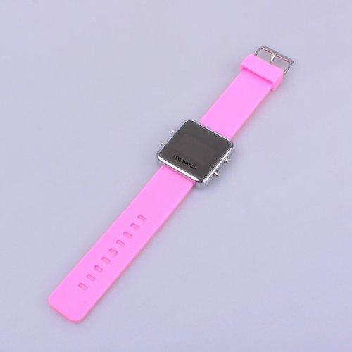 Bestdealusa Luxury Fashionable Pink Led Square Sport Style Wrist Watch Gift Watch
