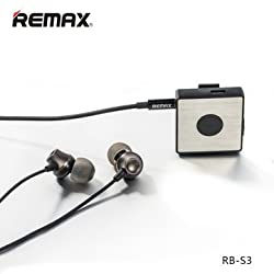 Remax Original Multi-Function Sport Clip On Bluetooth Headset With Mic 3.5mm HiFi Stereo Earphone - Black