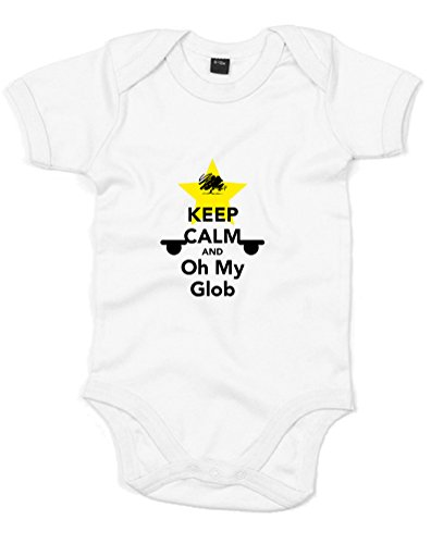 Keep Calm And Oh My Glob, Printed Baby Grow - White/Black/Yellow 0-3 Months front-1005655