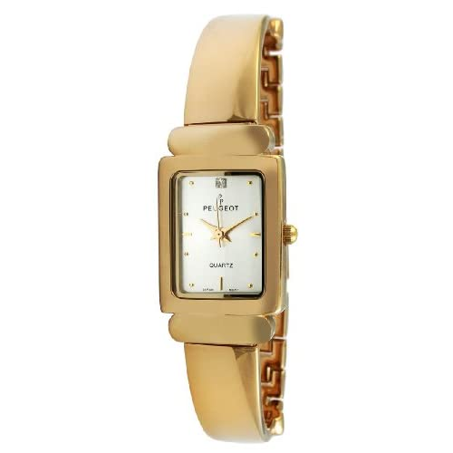 Peugeot-Womens-452-Gold-Tone-Half-Bangle-Link-Watch