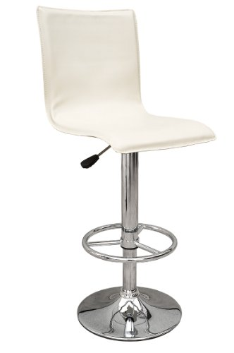 Premier Housewares Adjustable Bar Stool with Leather Effect Seat and Chrome Footrest and Base, Set of 2, 115 x 38 x 38 cm, Cream