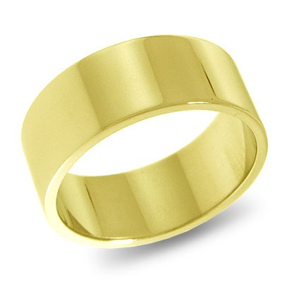 10K Yellow Gold, Flat Wedding Band 8MM (sz 9.5)
