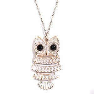 White Gold and Black Eyed Owl Necklace