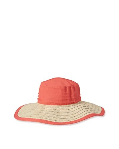 Magid Women's Paper Straw Floppy with Cotton Crown, Coral