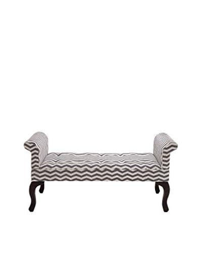 Chevron Wood & Fabric Bench, Grey