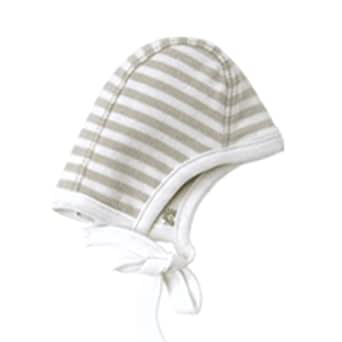 Melondipity Organic Striped Pilot Reversible Brown White Baby Hat Aviator Beanie