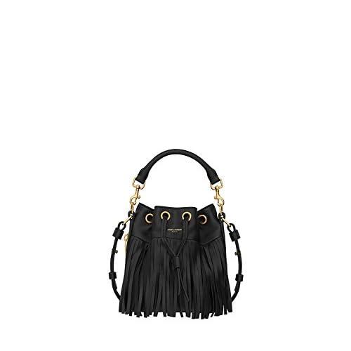 (サンローランパリ) Saint Laurent Medium EMMANUELLE BUCKET BAG IN Black LEATHER (並行輸入品) LASTERR