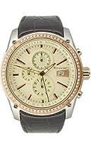 Rinovati Unisex RN0008 Stones 3 Eyes Chronograph Champagne Dial Brown Strap Watch