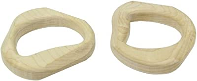 2 maple wooden teething rings