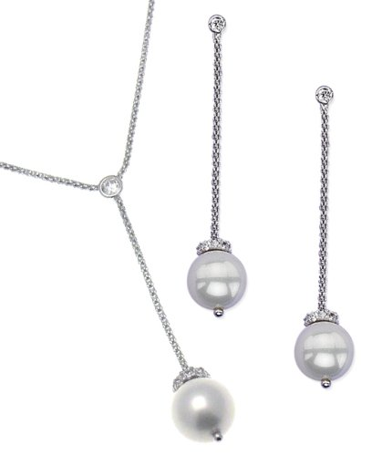 Elina H Sterling Silver Chandilier Freshwater Pearl Jewellery Set