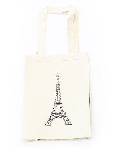 "100% Cotton Canvas Durable Multipurpose Embroidered B&W Paris Eiffel Tower Tote Bag (14"" X 11"" X 5.25"")"