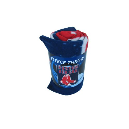 Fleece Throw Blanket Featuring Mlb Team Logo In Wicked Design - Boston Red Sox