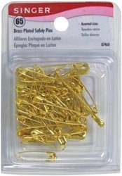 Singer Brass Plated Safety Pins 65/Pkg 7460; 6 Items/Order
