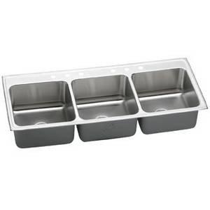 Elkay LTR5422108 Lustertone Bowl Triple Basin Kitchen Sink