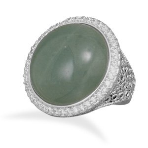 Silver Plated Brass Green Aventurine Ring / Size 9