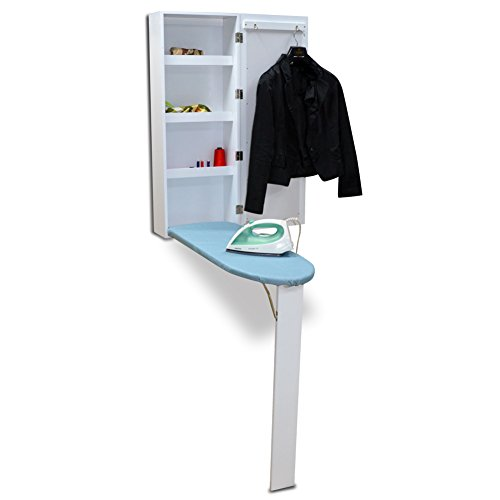 Organizedlife White Wall Mount Ironing Board Center Cabinet with Mirror and Storage Shelves (Ironing Board Shelf compare prices)