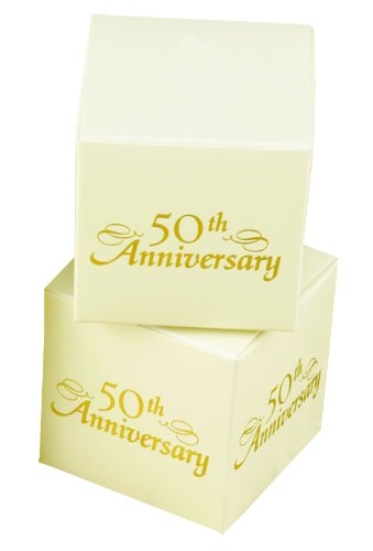 Hortense B. Hewitt Wedding Accessories, Favor Boxes, Ivory and Gold 50th Anniversary, Pack Candle of 25