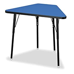 Tall Trapezoid Desk in Blue with Black Legs
