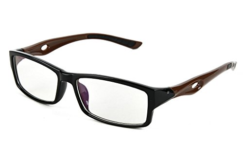 Beison Sports Optical Eyeglasses Frame Plain Glasses Clear Lens UV400 (Black frame with coffee temples, 53mm) (Spectacles Frame compare prices)