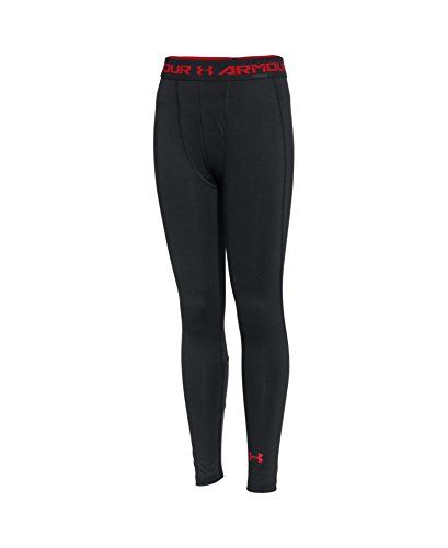 Under Armour Boys' HeatGear Armour Up Fitted Leggings, Black (001), Youth X-Large