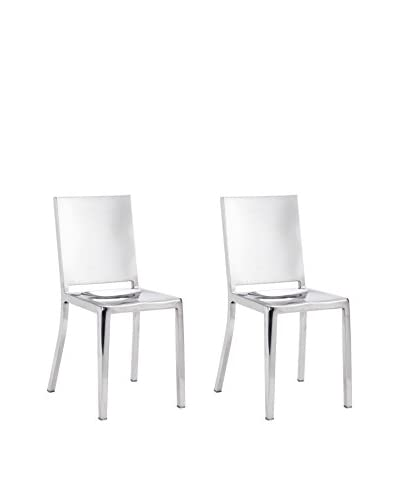 Zuo Set of 2 Fall Chairs, Polished Stainless Steel