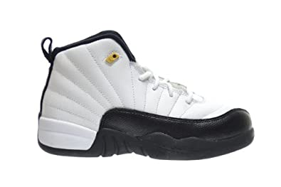 Jordan 12 Retro Taxi Little Kids Basketball Shoes White Black-Taxi-Varsity Red... by Jordan