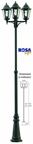 Lampione con 3 lanterne in alluminio pressofuso Max H. 260cm - ELTO6219-NE