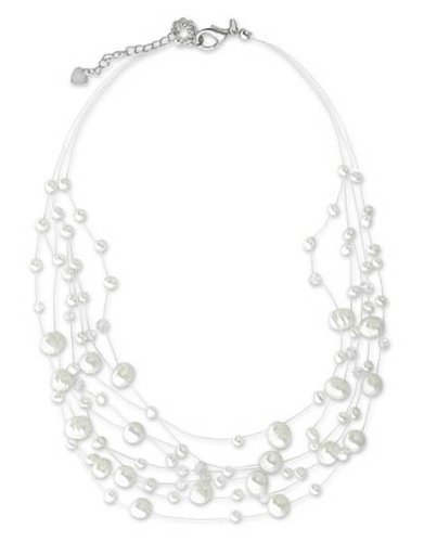 Pearl necklace, 'Ivory Fishnet' 1.6