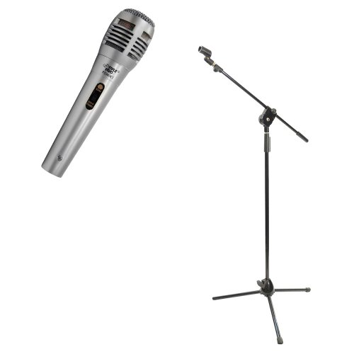 Pyle Mic And Stand Package - Pdmik1 Professional Moving Coil Dynamic Handheld Microphone - Pmks3 Tripod Microphone Stand W/ Extending Boom