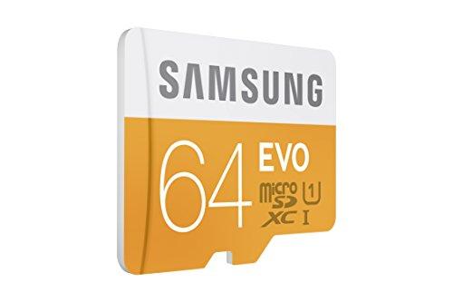 Samsung MB-MP64DA/AMZ - Tarjeta de memoria micro SD EVO de 64 GB con adaptador SD, Paquete abrefácil