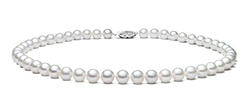 6.5-7mm 14k White Gold White Akoya Saltwater Cultured Pearl Necklace AA+ Quality, 16