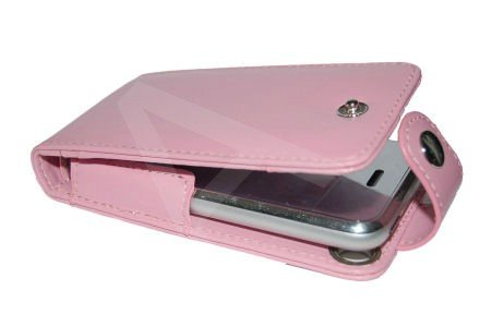 U-Bop Neoprene Leather Horizontal Flip Case and Stand W/Storage Apple iPhone 4gb , 8gb , 16gb , iPhone 3G , Pink