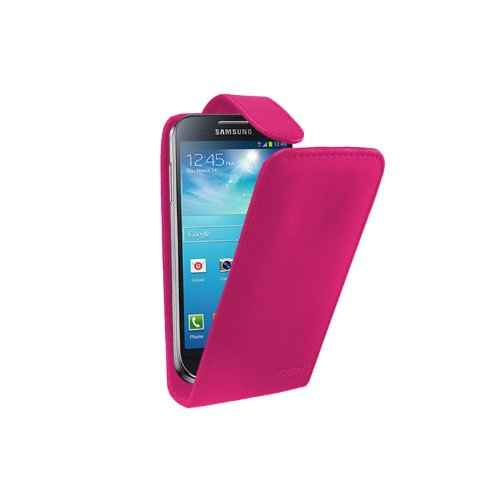 Rosa Leder Tasche Hülle Samsung Galaxy S4 Mini (GT-i9190 / i9192 Dual Duos / i9195 LTE) - Flip Case Cover + 2 Displayschutzfolie