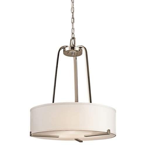 Kichler Lighting 42488PN 3-Light Incandescent 24-Inch Drum Shade Pendant, Polished Nickel with White Fabric Shade
