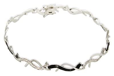 Carissima 9ct White Gold 0.25ct Black & White Diamond Twist Bracelet 19cm/7.5""