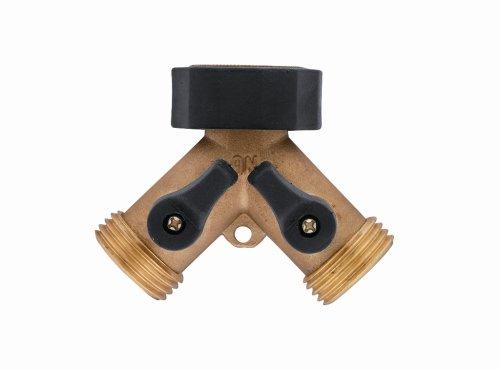 Orbit 58248 Brass Hose Y-Connector With Shut-Off Valves