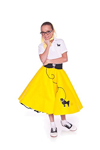 [Hip Hop 50s shop 3 Piece Child Poodle Skirt Outfit, Size 6 Yellow] (50 Outfits For Kids)